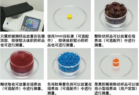 只需把被测样品放置在仪器顶部,即使较大体积的样品也可进行测量。